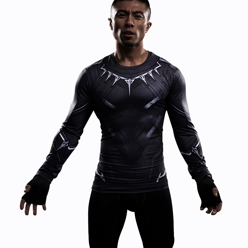 Black Panther T Shirt Avengers 3 Marvel Superhero 3D Printed T-shirts Fitness Summer Men Sport Compression Shirt Cosplay Costume