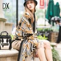DANA XU Women Winter Fashion Scarf Plaid Thick Warm Poncho Cashmere Sweater Pashmina Scarves and Stoles Oversized Blanket Wrap