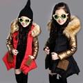 Grueso del bebé parkas moda abrigo de oro extraíble ropa de abrigo para niñas niños 3-12yrs niños chaqueta de Invierno ropa de abrigo