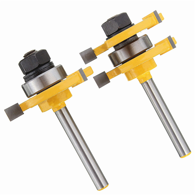 Hot Sale Tenon Cutter Floor Wood Drill Bits Groove and Tongue Router Bit 1/4 T type Shank 3 Teeth Milling Cutter For Wood high grade carbide alloy 1 2 shank 2 1 4 dia bottom cleaning router bit woodworking milling cutter for mdf wood 55mm mayitr