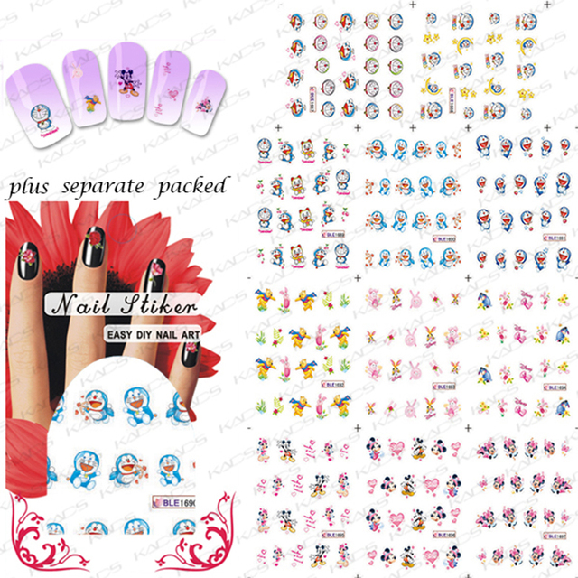 New Arrival! 90SHEET/LOT Doraemon & Mickey Cartoon  Nail Art  sticker Design Nail stickers/ water transfer Nail art  wholesale