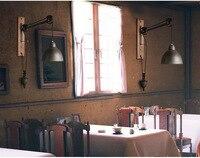 American Retro Лофт Промышленные Стиль гладить Винтаж бра со шнуром шкив бар свет кафе свет Asile свет Бесплатная доставка