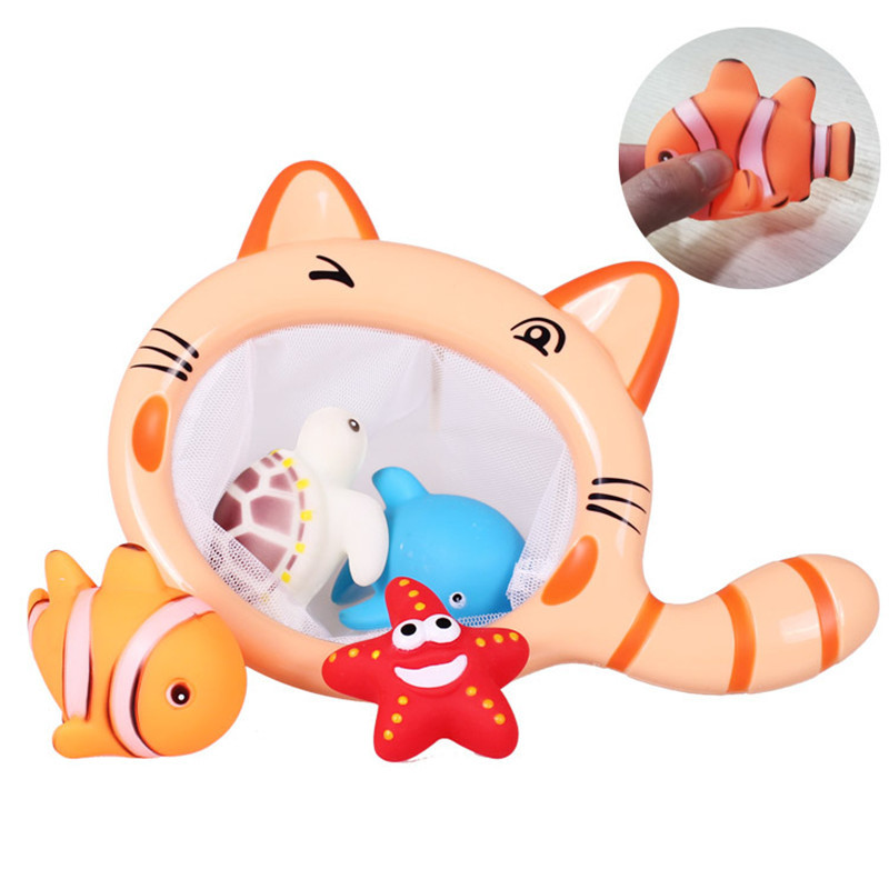 Classic Fishing Toy Cartoon Animals Cat Shark Net Bag Pick up Ocean Ball Swimming Play Water Bath Toy Gifts For Children Baby