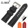 ZLIMSN  24mm Mens Black Diving Silicone Rubber Watchbands Black Red Watch BANDS Strap Buckle Relojes Hombre 2017 For Panerai