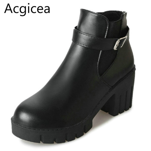 6c4f492c5 2017 Nova Moda Flatform Mulheres Ankle Boots Primavera Outono Preto Sapatos  de Fivela Mulher Madura Formal