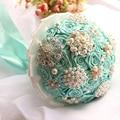 SoAyle 2016 Bridal Accessories Silk Ribbons Pearls Bouquet Diamond Multicolor Gradient Simulation Roses Luxurous Wedding Bouquet