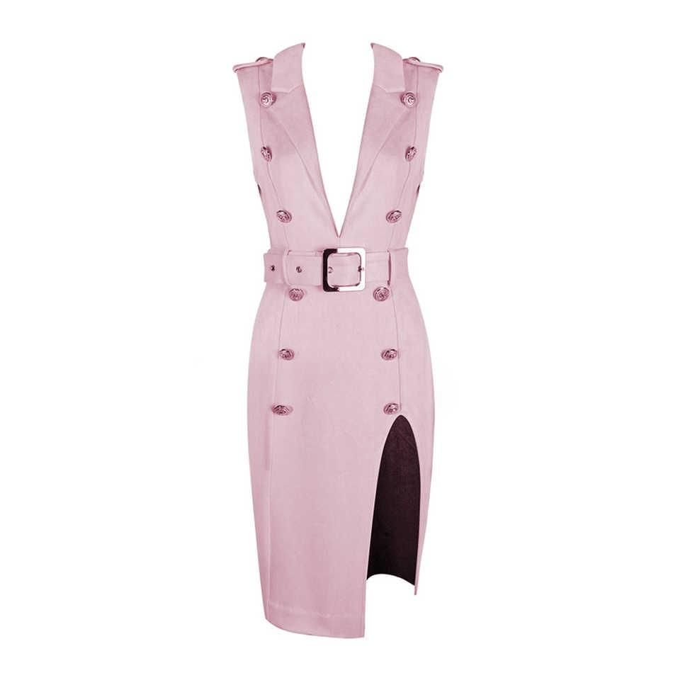 Розовое Дешевое бархатное платье с глубоким вырезом и пуговицами, с высоким разрезом, глубоким v-образным вырезом, сексуальная женская верхняя одежда с поясом, вечерние платья
