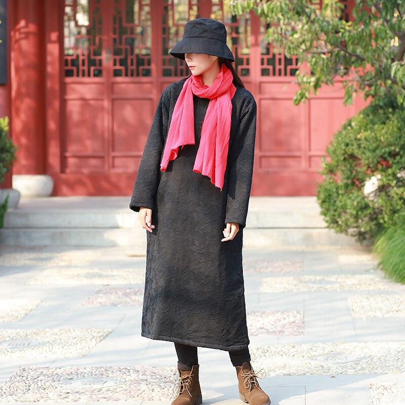 Floral Femme Robe Robes Top Noir D'hiver Jacquard Mujer À Manches Longues vert Coton Lin Bleu rouge Vintage Femmes Qualité 2018 marine TF3l1JKcu5