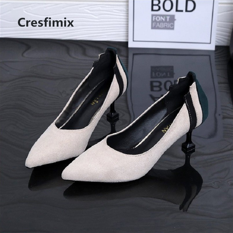 Cresfimix women cute spring & summer slip on high heel shoes lady casual pointed toe black high heel pumps cool shoes c2967 xiaying smile summer women sandals casual fashion lady square heel slip on flock shoes pointed toe cover heel lace bowtie shoes