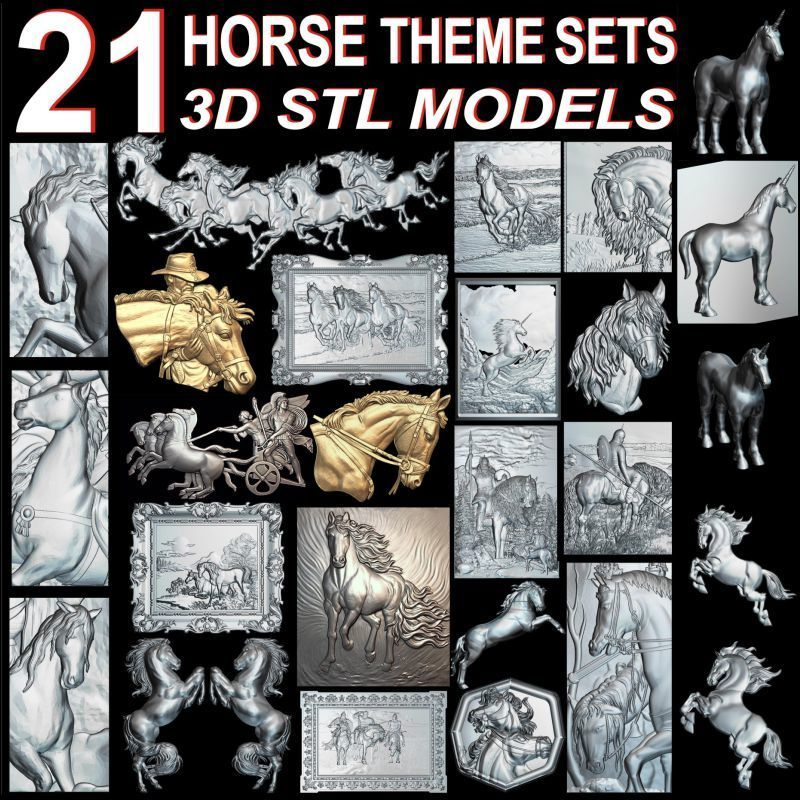 21pcs The Horse Theme 3d Model STL Relief For Cnc STL Format Horse Relief Model STL Router  Engraver ArtCam