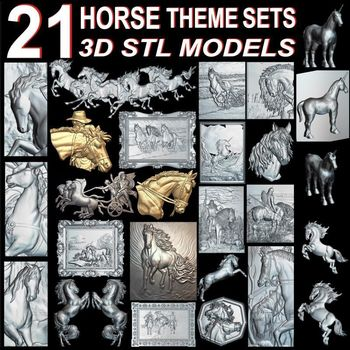 21pcs The Horse Theme 3d model STL relief for cnc format horse Relief Model Router  Engraver ArtCam