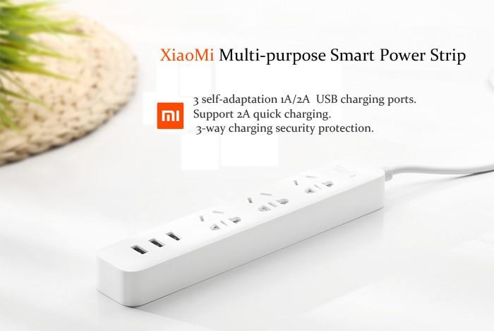 Original XiaoMi 3 USB Charging Ports Mini Power Strip with 3 Sockets Standard Plug