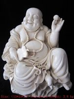 13inch/ dehua white porcelain comfortable laughing Buddha in China, big Buddha