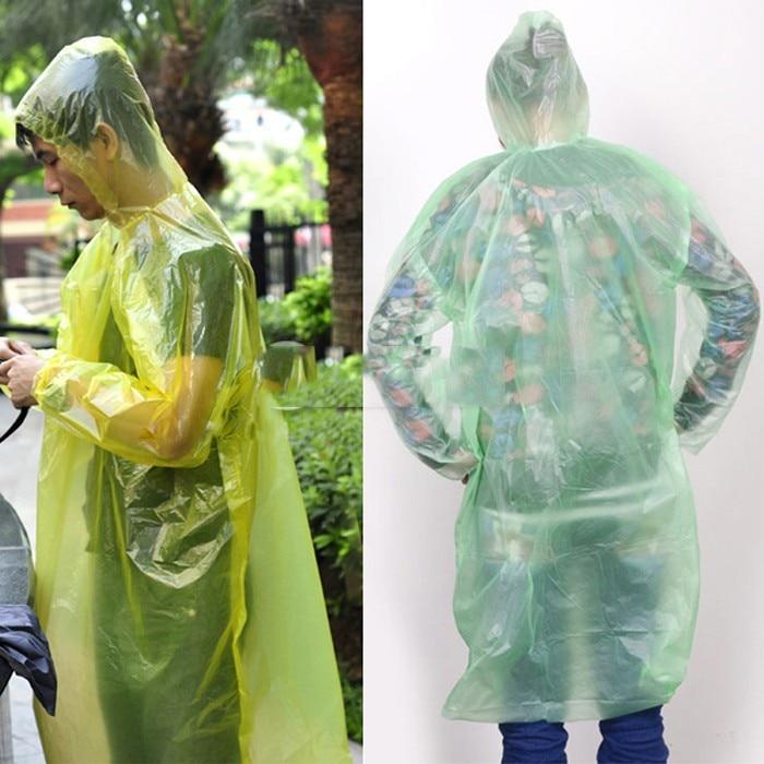 RETYLY 1Pcs Adult Disposable Plastic Emergency Waterproof Rain Coat Hood Poncho Camping Clear