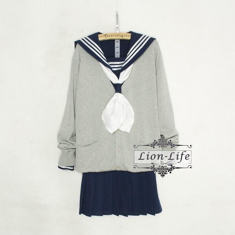 73c72db2f1e 4 pieces in one set 2 styles Japanese Women Sweater Kansai Lapel JK Student  Sailor Long Sleeve School Uniform Costume -in School Uniforms from Novelty  ...