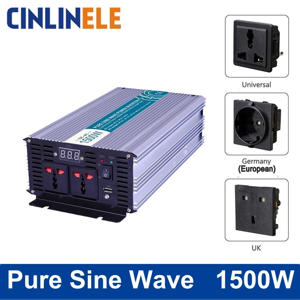 Smart Pure Sine Wave Inverter 1500W CLP1500A DC 12V 24V 48V to AC 110V 220V Smart Series Solar Power 1500W Surge Power 3000W