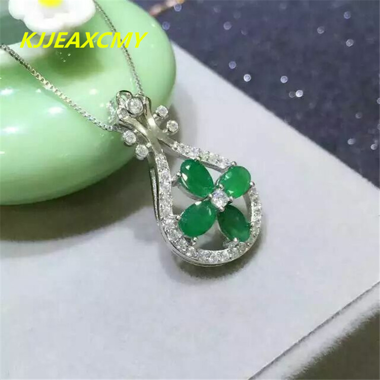 KJJEAXCMY boutique jewelry,Natural female Emerald Necklace inlaid jewelry wholesale, S925 silver, sterling silver wholesale proc wholesale