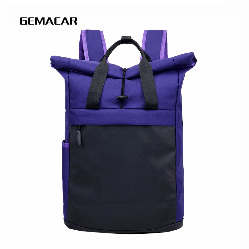 Casual Unisex Student Bag Large Capacity Contrast Personality Backpack Breathable Simple Men And Women Multifunction Pack Travel in Backpacks from Luggage Bags