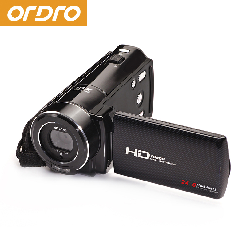 ORDRO HDV-V7 Digital Video Camera 1080P 16x Digital Zoom Video Recorder with Face Detection ordro hdv z8 1080p full high definition video recording 16x digital zoom 24 0 mega pixel hi cmos sensor camera with lcd screen