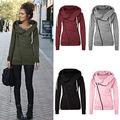 Women Winter Warm Casual Long Sleeve Irregular collar Zipper Loose Sweater Jumper Coat Plus Size S-XL