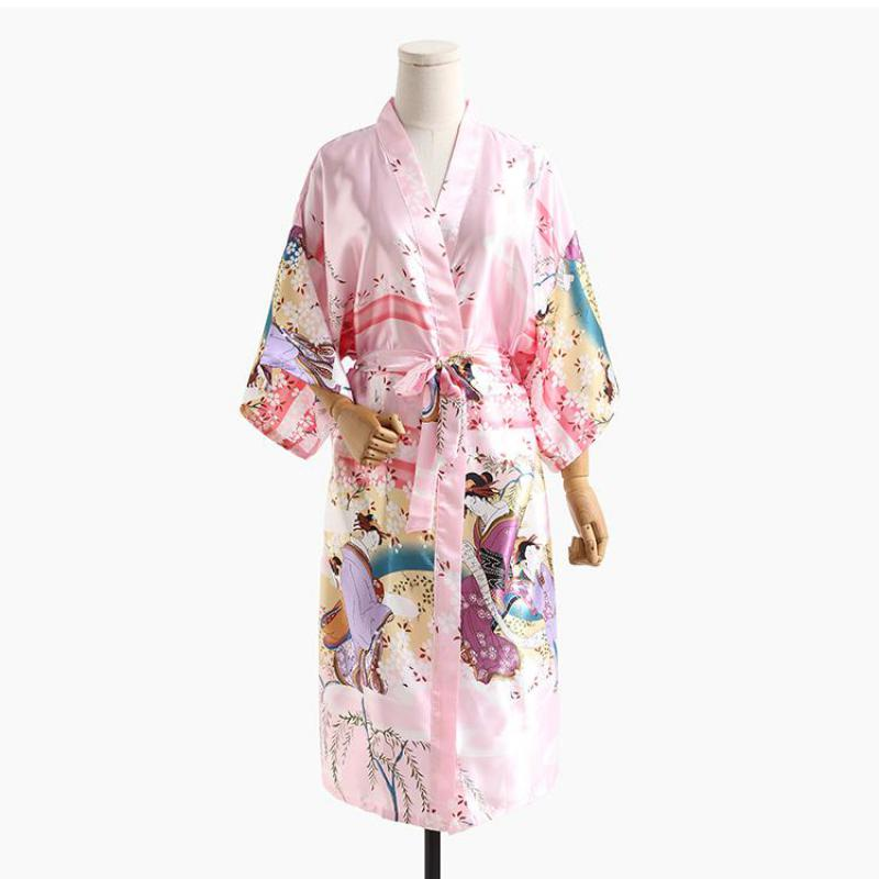 Chinese Fairy Robe Sleepwear Casual Women Home Dress Intimate Lingerie Loose Negligee Pink Rayon Kimono Bath Gown Nightgown S-XL