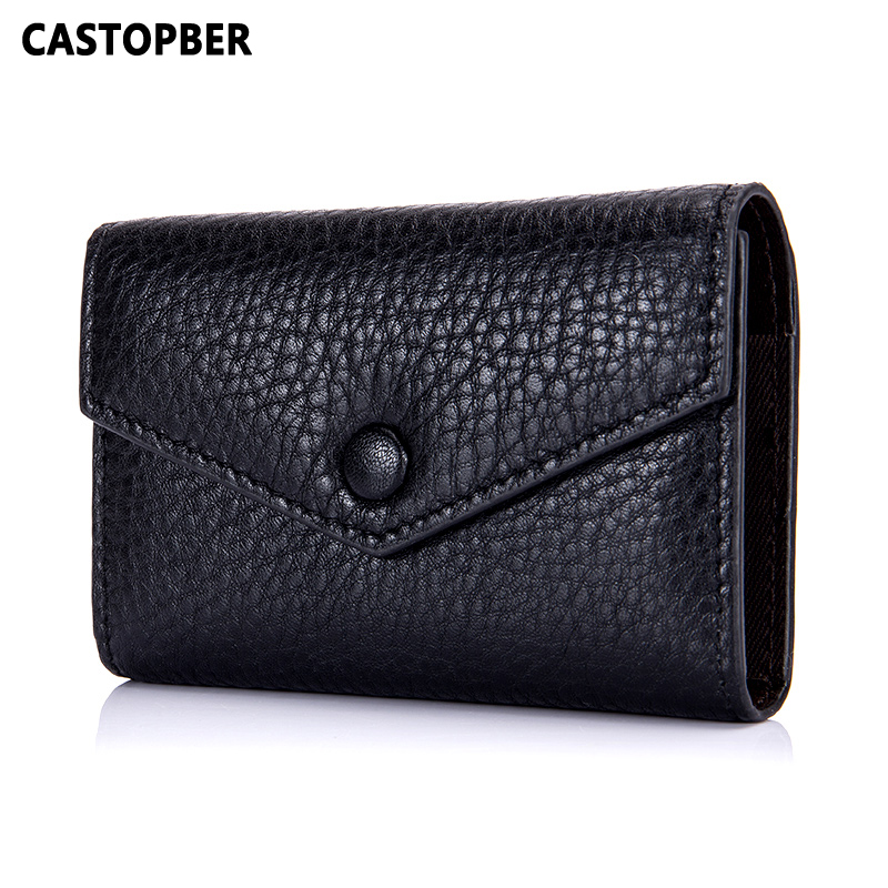 Women Fashion Designer Bank ID Business Credit Card Holder Leather Cow Genuine Leather M ...