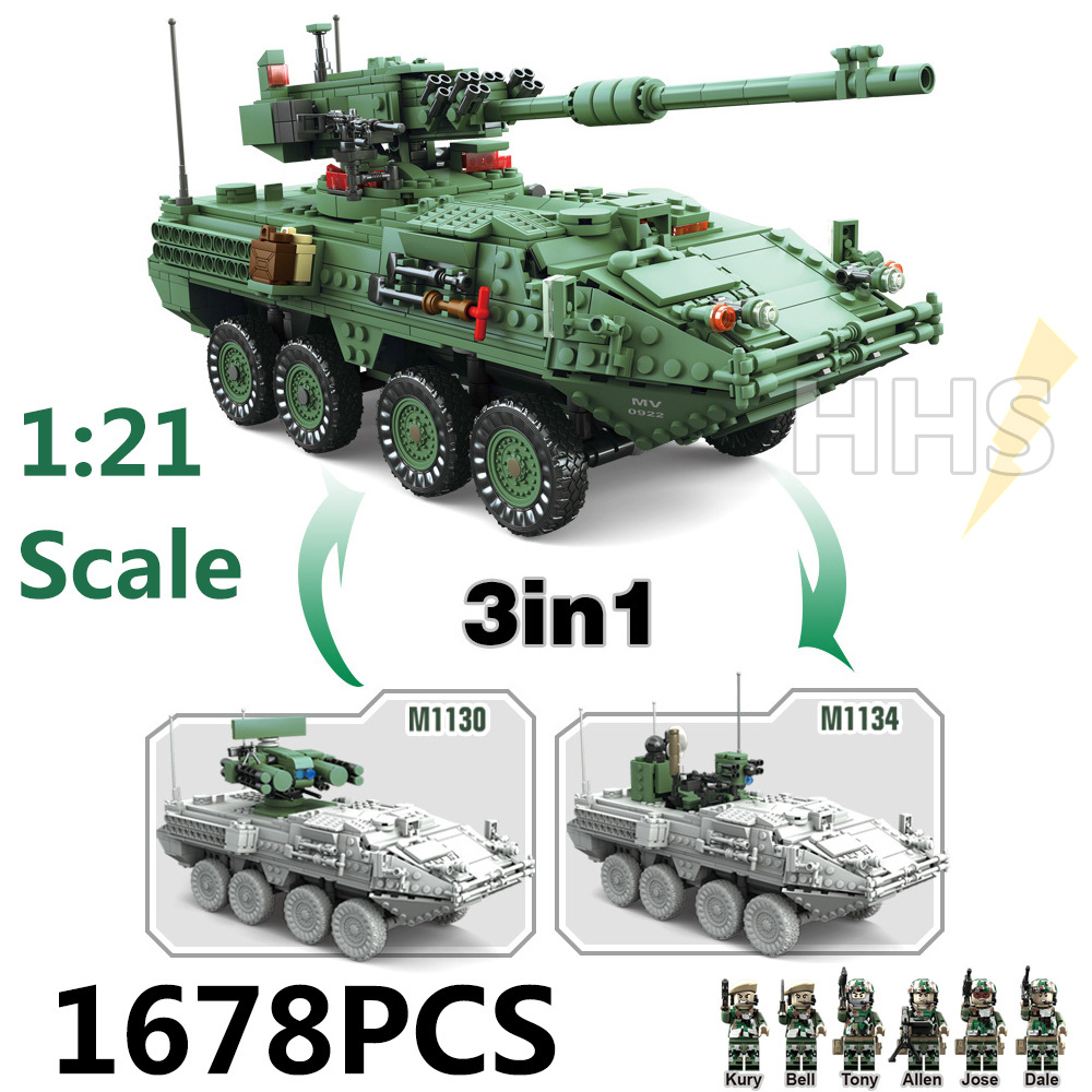 Big Size 3in1 playmobil Military Technic Series The Stryker M1128 MGS Building Blocks Bricks toys for boys brinquedos jugetes