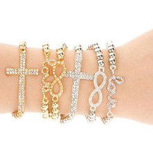 1pcs Fashion Rhinestone Cross Love Infinity Stretch Beaded Bracelet Gift H6561 P40