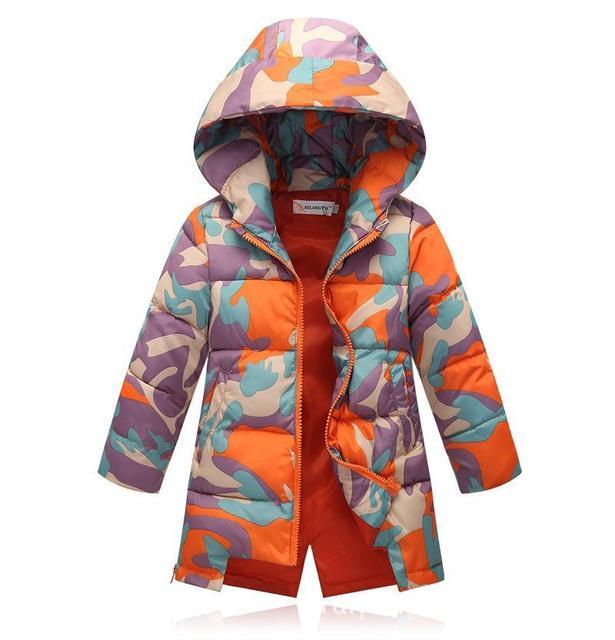 Meninas Jaqueta 2017 Novas Crianças Para Baixo Casaco de Inverno Para Baixo Bebê Jaqueta Meninas Longa Pequena Camuflagem Desgaste Outwear Grosso XY142