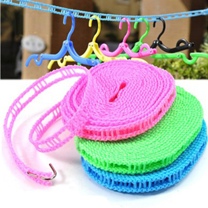 Outdoor Windproof Clothesline Travel Retractable Rope Washing Line, Outdoor Camping Drying Clothes Hanger Rack Line 5M Long ...