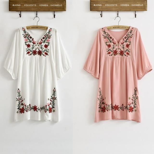 New Hot Sale Vintage 70s Mexican Ethnic Floral EMBROIDERED Hippie Blouse Tops  Women Clothing Vestidos Femme S M L Plus Size 7b3de1c490dc