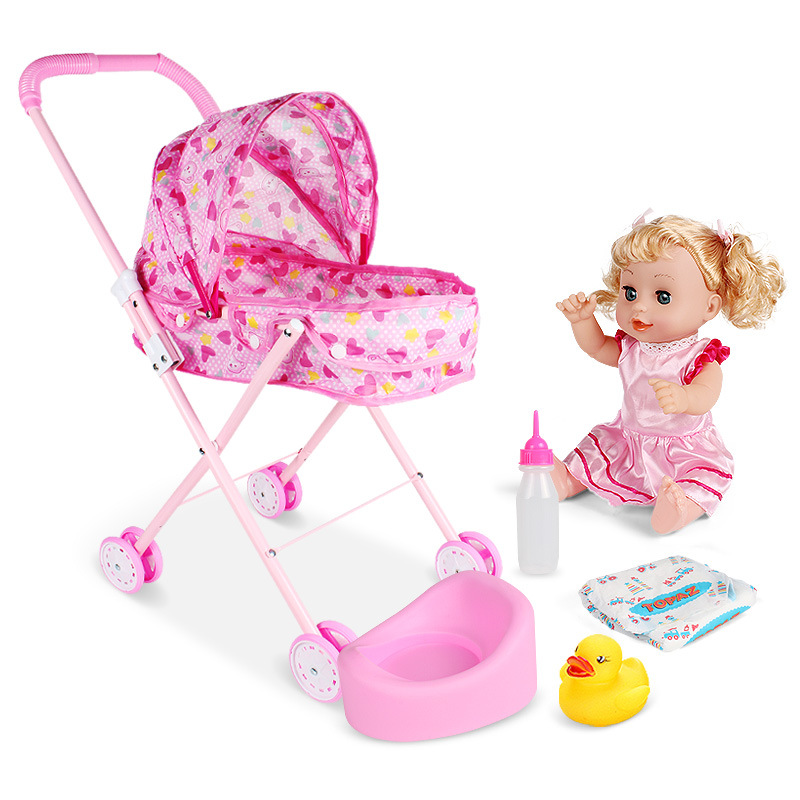 Foldable Baby Carriage Stroller Toy Set Smulation Baby Iron Trolley Girls Play House Toys Cart For Dolls Furniture Toy Juguetes