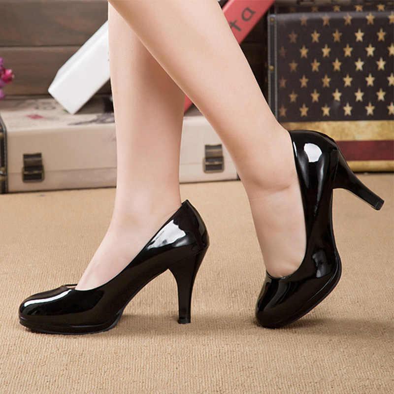 Yeni kadın yüksek topuklu rugan elbise ayakkabı pompaları sığ yuvarlak ayak üzerinde kayma kadın tatlı düğün parti moda ayakkabılar bayanlar
