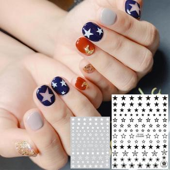 цена на CB series CB-46 STARS  Black White Gold Silver letters 3d nail art stickers decal template diy nail tool decorations