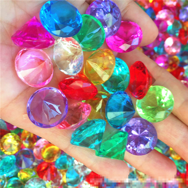 20MM Faux Diamond Jewels Treasure Chest Pirate Acrylic Crystal Gems Filler Toys Props Party Favor Confetti Wedding Decorations