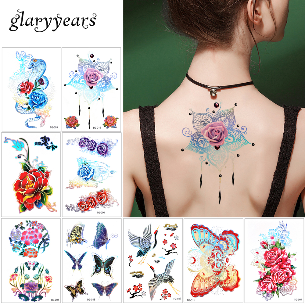 15*10.5cm Glaryyears  18 Designs 1 Sheet Laser Flower Tattoo Metallic TG Sticker Temporary Body Art Jewelry Makeup Tattoo Beauty