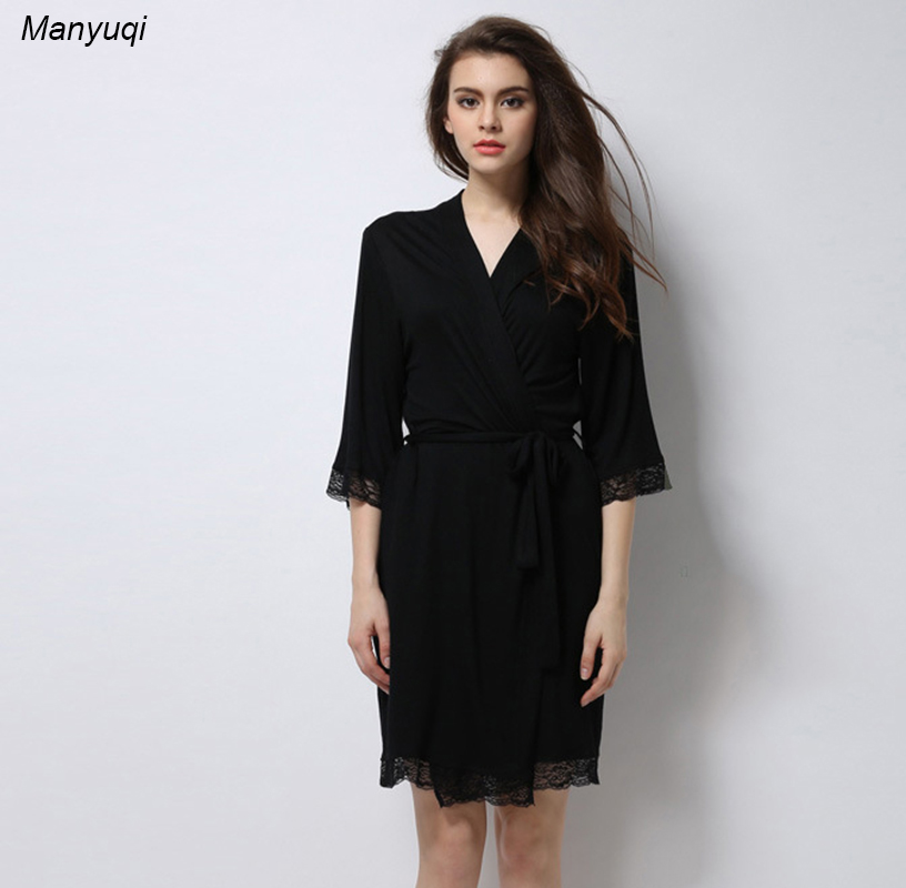 a95f2cbfe0 Summer black modal bathrobe femme comfortable lace sexy bridesmaid robes  dressing gowns for women