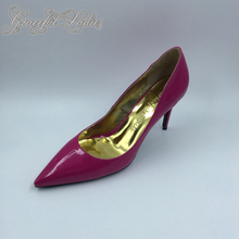 Hot Pink Patent Leather Pointed Toe Women Pumps Slip-on Sexy Stilettos Real Photo Ladies Shoes Plus Size 10 Shoes Women Shoes