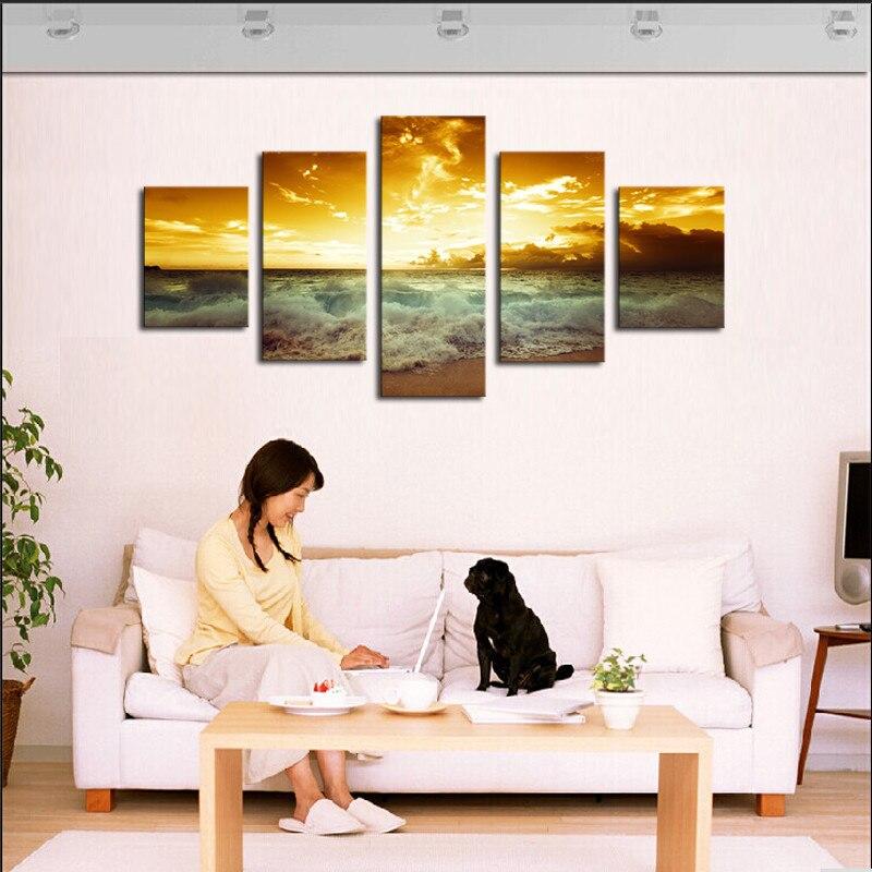 Okvir 5 plošče čudovita morska pokrajina platno tisk slikarstvo - Dekor za dom - Fotografija 3
