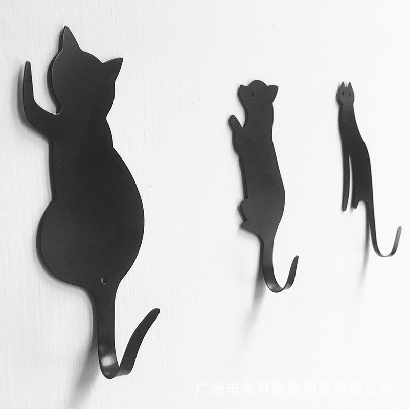 3pcs Cute Cat Tail Wall Hooks Ultra-Powerful Super Strong Hanger Metal Hook  Self Adhesive Towel Rack Key Hanger Door Wall Decor
