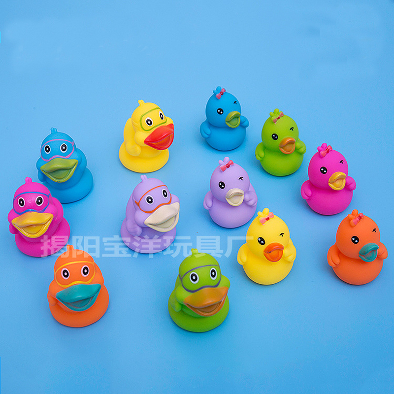 6pcs/lot Cartoon Float Water Swimming Child's Play Mouth Mini Small Yellow Rubber Duck Educational For Children Baby Bath Toys