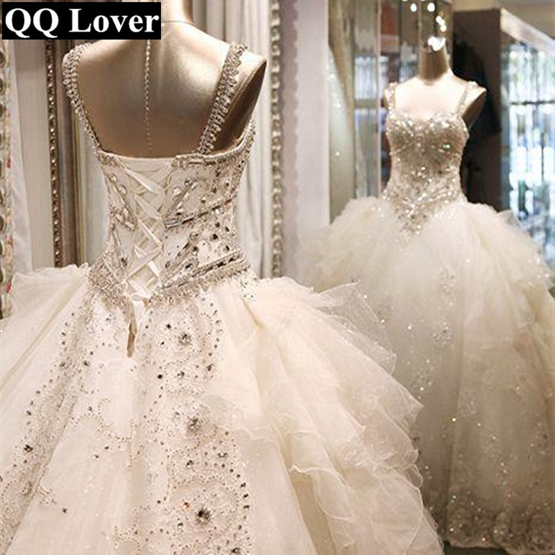 QQ Lover 2018 New Arrival Luxury Crystals Beaded Spaghetti Straps Big Train Lace font b Wedding