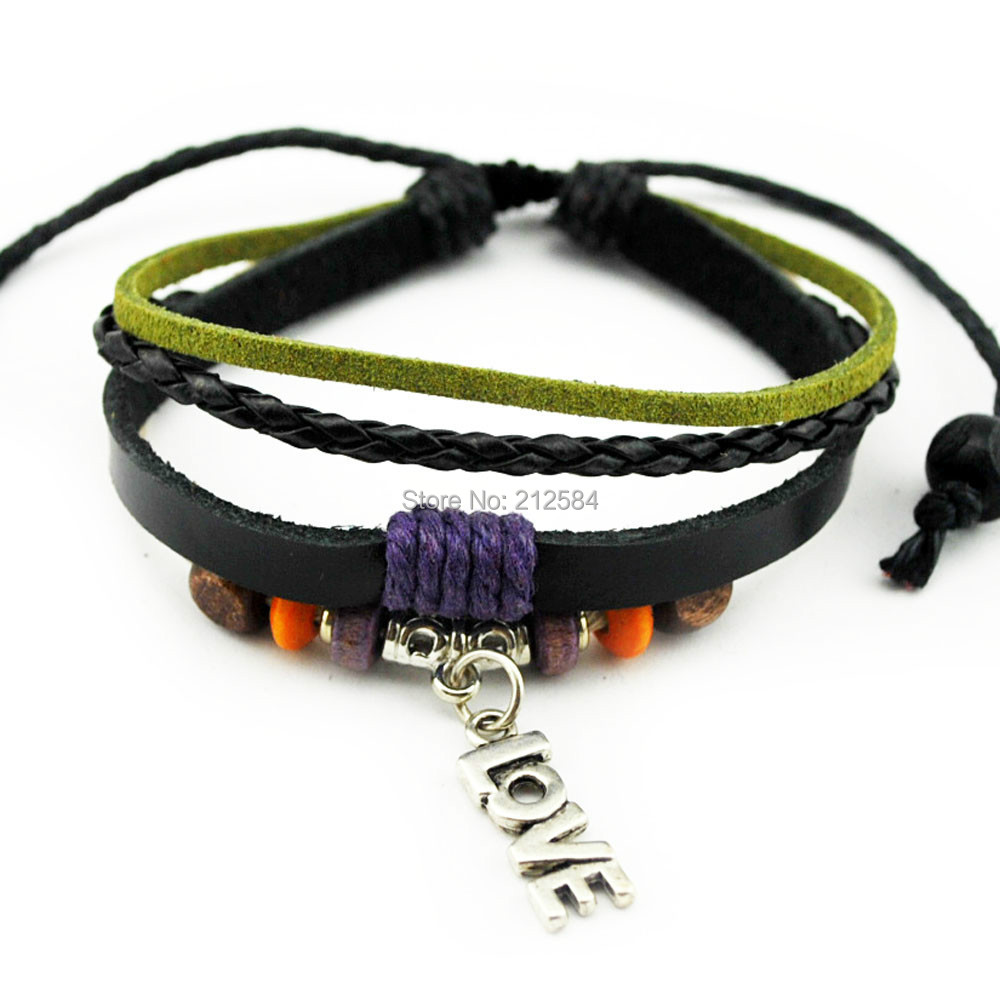 A418 Fashion Handmade Hemp Leather Bracelet Love Words Charm Wristband  Womens Adjustable Wrap Bracelet Gift Free