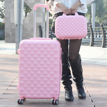 Trolley luggage picture box travel bag luggage universal wheels female14 20 24  28 sets,high quality pink abs hard case sets