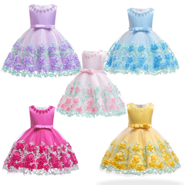 Newborn Baby Girl Dress Summer Flower Dresses for Girls 1st year birthday party wedding dress infant toddler 0-6yrs kids clothe