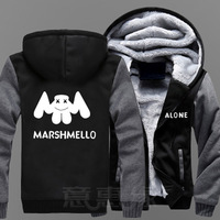 2018 Hot Winter Jackets and Coats Marshmello hoodie Alone DJ Hooded Thick Zipper Men Sweatshirts