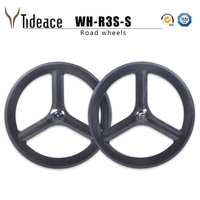 Tri Spoke Wheels Carbon Road Wheelset 700C Full carbon chinese Wheels Clincher 3 spoke wheels tubular Offer Decals for cycling