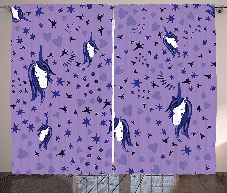 Unicorn Party Kitchen Curtains Teenage Style Stars And Hearts Purple Toned Background Fairy Tale Window Decor Panel Set