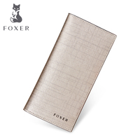 FOXER Girls Famous Brand Designer Women Purse Fashion Gold Lady Genuine Leather Long Wallets Free Shipping