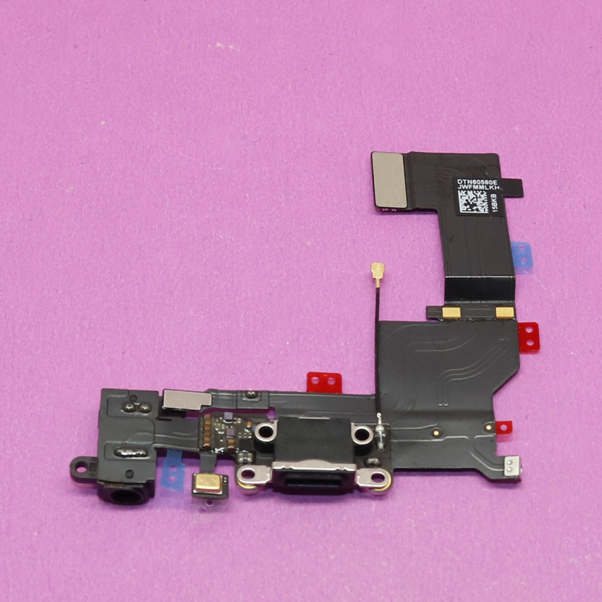 Top quality For iPhone 5s Charger Headphone Mic Jack Dock USB Connector Port Charging Flex Cable, Black.